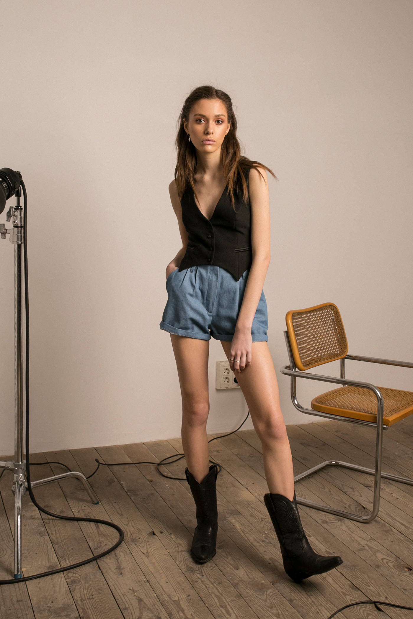 MATADOR VEST & PAPERWAIST DENIM SHORTS