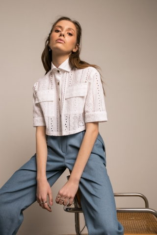 SANGALLO CROPPED SHIRT & PAPERWAIST JEANS