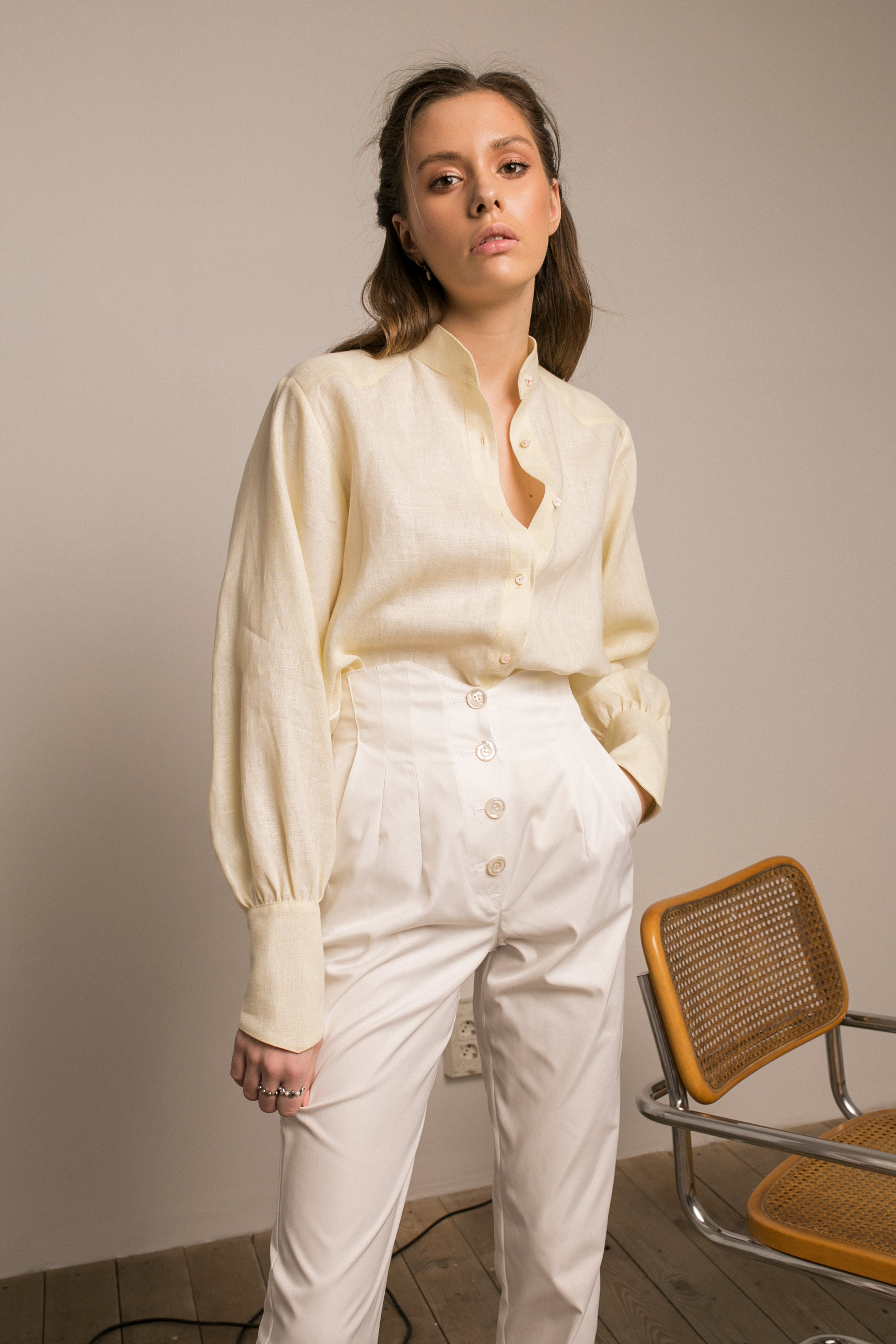 VANILLA CREAM SHIRT & WHITISH TROUSERS